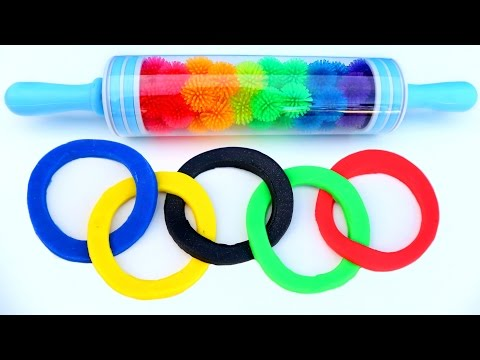 Play Doh Olympics Games Kids Rainbow Roller Pin Playdough Plasticine Fun