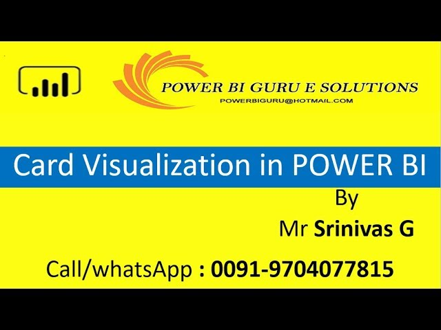 Card Visualization in Power BI | Power BI Training from Power BI Guru | Power Bi for Beginners