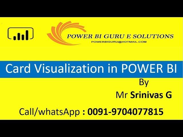 Card Visualization in Power BI | Power BI Training from Power BI Guru | Power Bi for Beginners