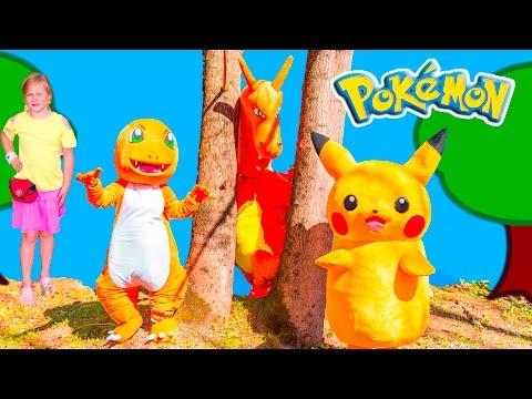 POKEMON GO HUNT Assistant Hunts Pickachu and Charizard Funny Challenge Video