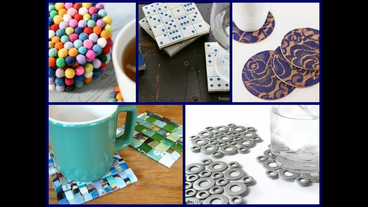 30 diy coasters decorating ideas handmade home decor for Home decorating materials