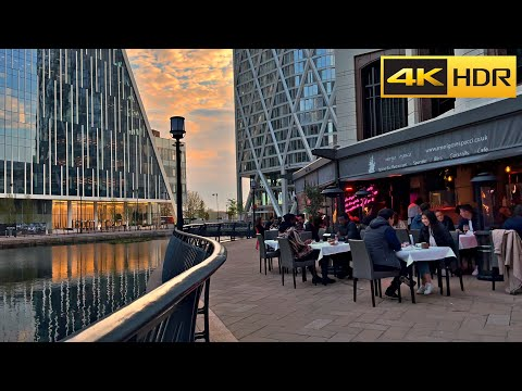 London Sunset Walk- May 2021| Canary Wharf, East London Business District [4K HDR]