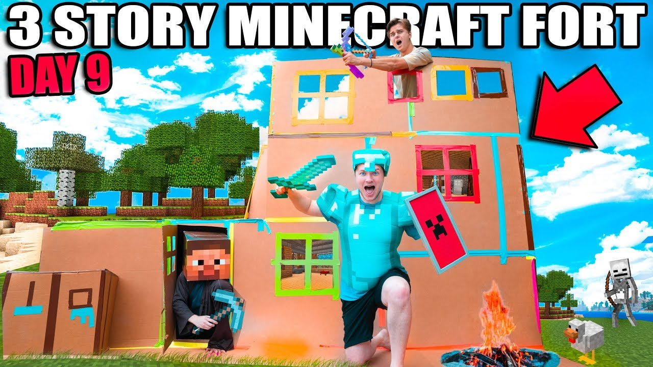 Real Life MINECRAFT Box Fort! 24 Hour Challenge DAY 9 - 3 STORY FORT!