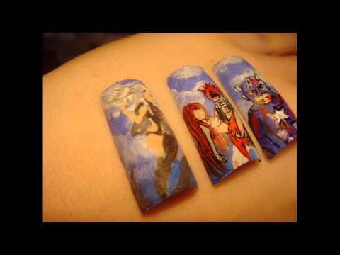 Mangowe Zdobienie Paznokci Fairy Tail Nail Art Natsu Erza
