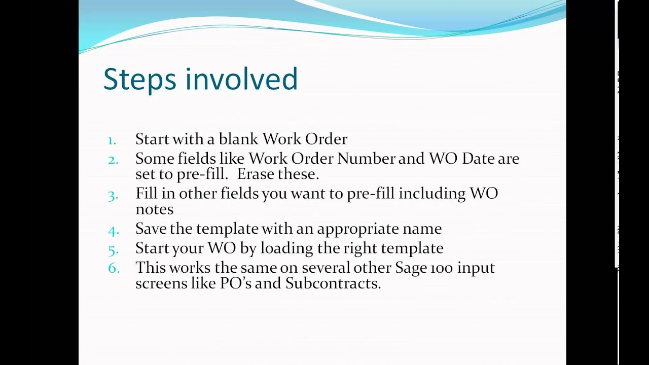 Creating a Work Order Template - YouTube