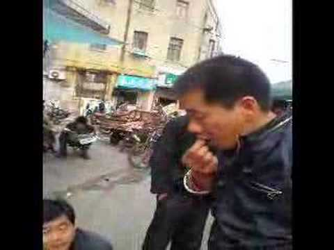 Eating scorpions in Qingdao, China