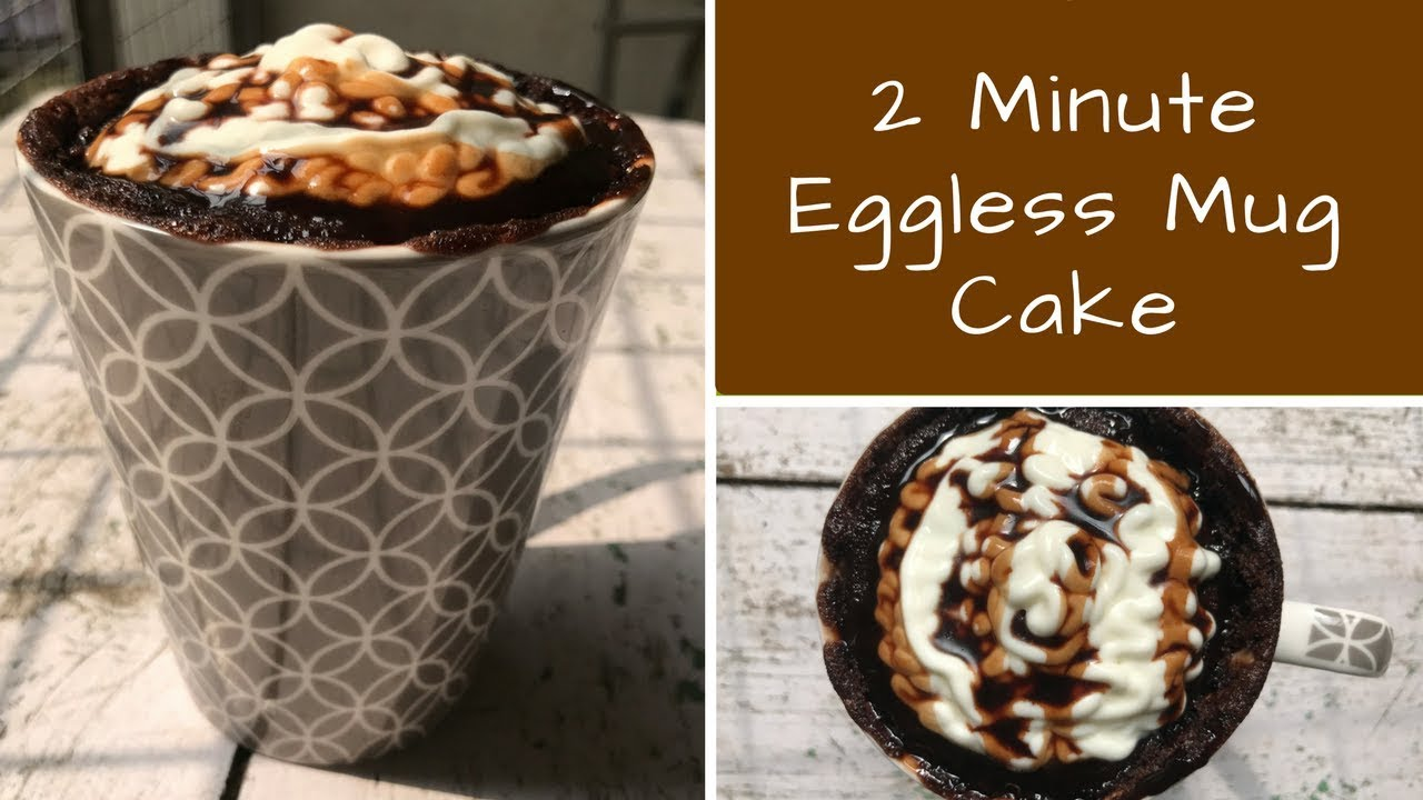 2 Minute Eggless Mug Cake Recipe | Nutella Mug Cake ...