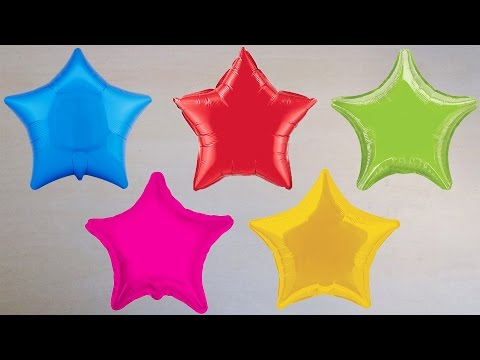 5 Wet Colors STAR Balloons - Learn Colours Water Balloon Finger Family Nursery Rhymes