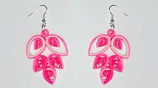 Quilling earrings Quilling paper earrings making tutorial