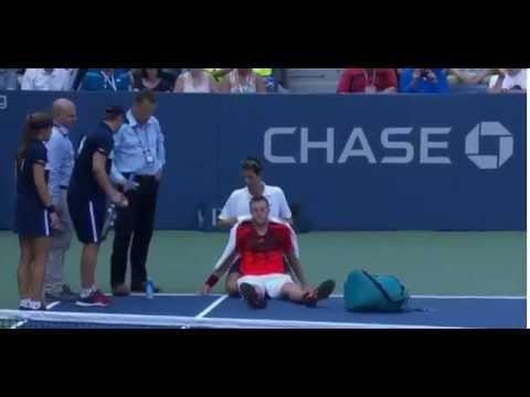 Jack Sock Retires Due to Serious Cramps (9/3/15)