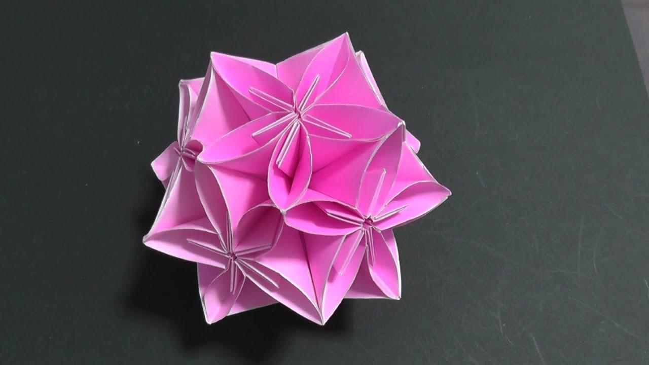 すべての折り紙 上級者 折り紙 : 折り紙:上級】球体フラワー ...