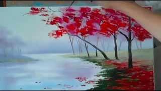 Урок рисования для начинающих - Как нарисовать осенний пейзаж