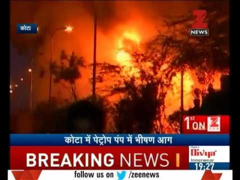 Watch - Huge fire breaks out at petrol pump in Kota, Rajasthan