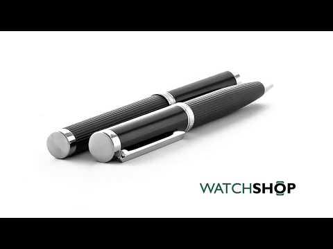 Hugo Boss Pens Base metal Column Dark Chrome Ballpoint & Rollerball Pen Set (HPIR651)