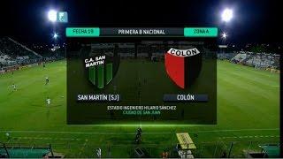 Fútbol en vivo. San Martín SJ - Colón. Fecha 19. Torneo Primera B Nacional 2014. FPT.