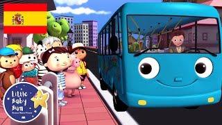 Canciones Infantiles | Las Ruedas del Autobús Azul | Dibujos Animados | Little Baby Bum en Español
