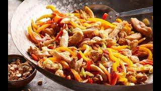 Курица с болгарским перцем и фасолью по-тайски