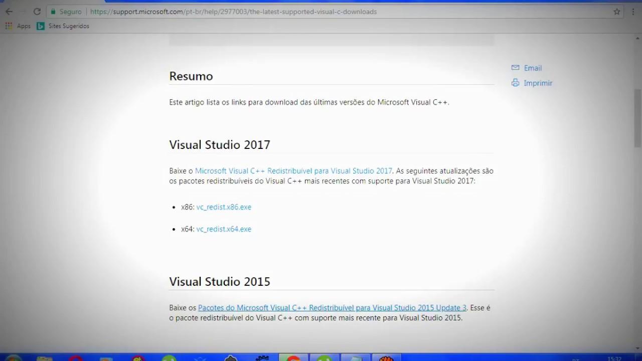 microsoft visual studio 2015 redistributable package download
