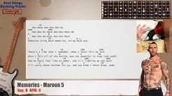 Memories - Maroon 5 Guitar Backing Track with chords and lyrics