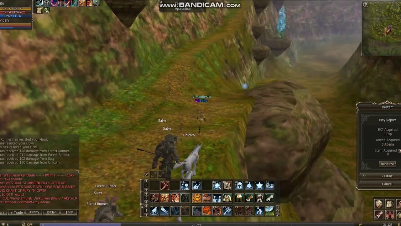 Lineage 2 Classic Giran - 55 lvl Warlord   Solo Mass Farm Enchanted Valley