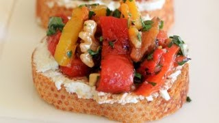 Roasted Pepper And Goat Cheese Crostini - A Clean & Delicious® Party Recipe