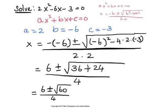 simplest form quadratic equations  Solve a Quadratic Equation using the Quadratic Formula