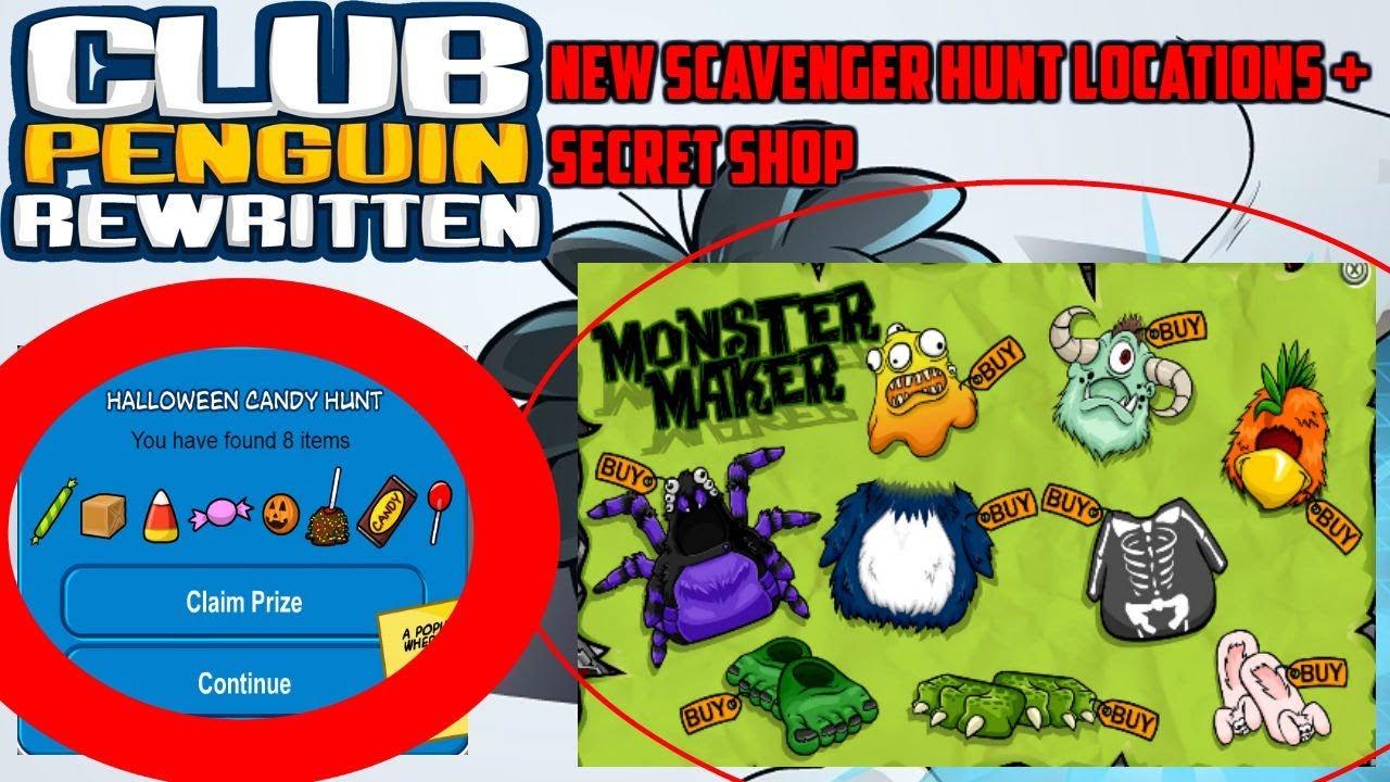 candy scavenger hunt locationssecret shop club penguin rewritten