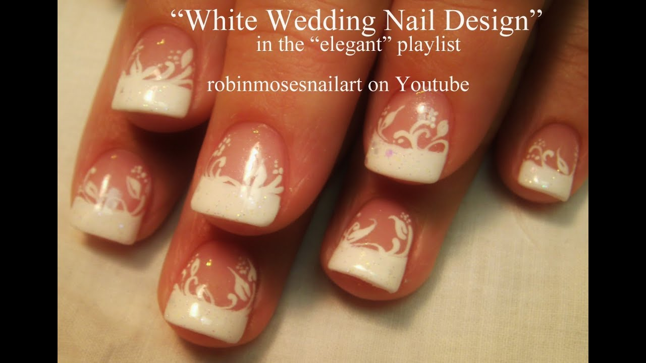 Easy white tip nail art design youtube prinsesfo Images