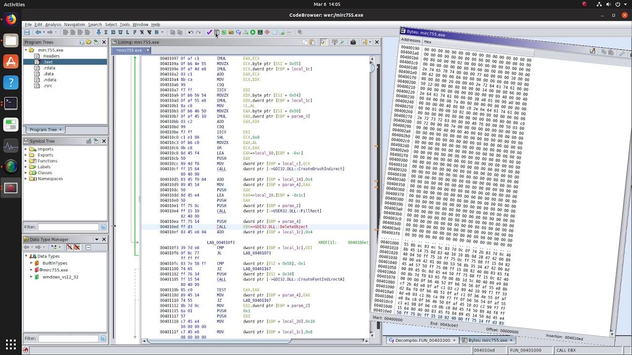Ghidra software reverse engineering (SRE) framework