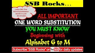 One Word Substitution (All important words from Alphabet G to M) #ssbrocks #vocabulary