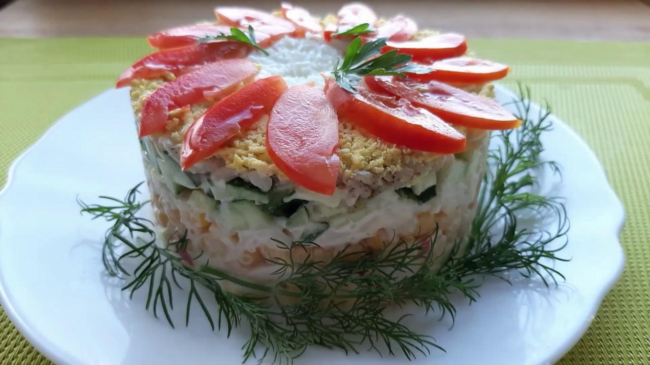 Салат из крабовых палочек с кукурузой, огурцом и рисом. На ПРАЗДНИЧНЫЙ СТОЛ!