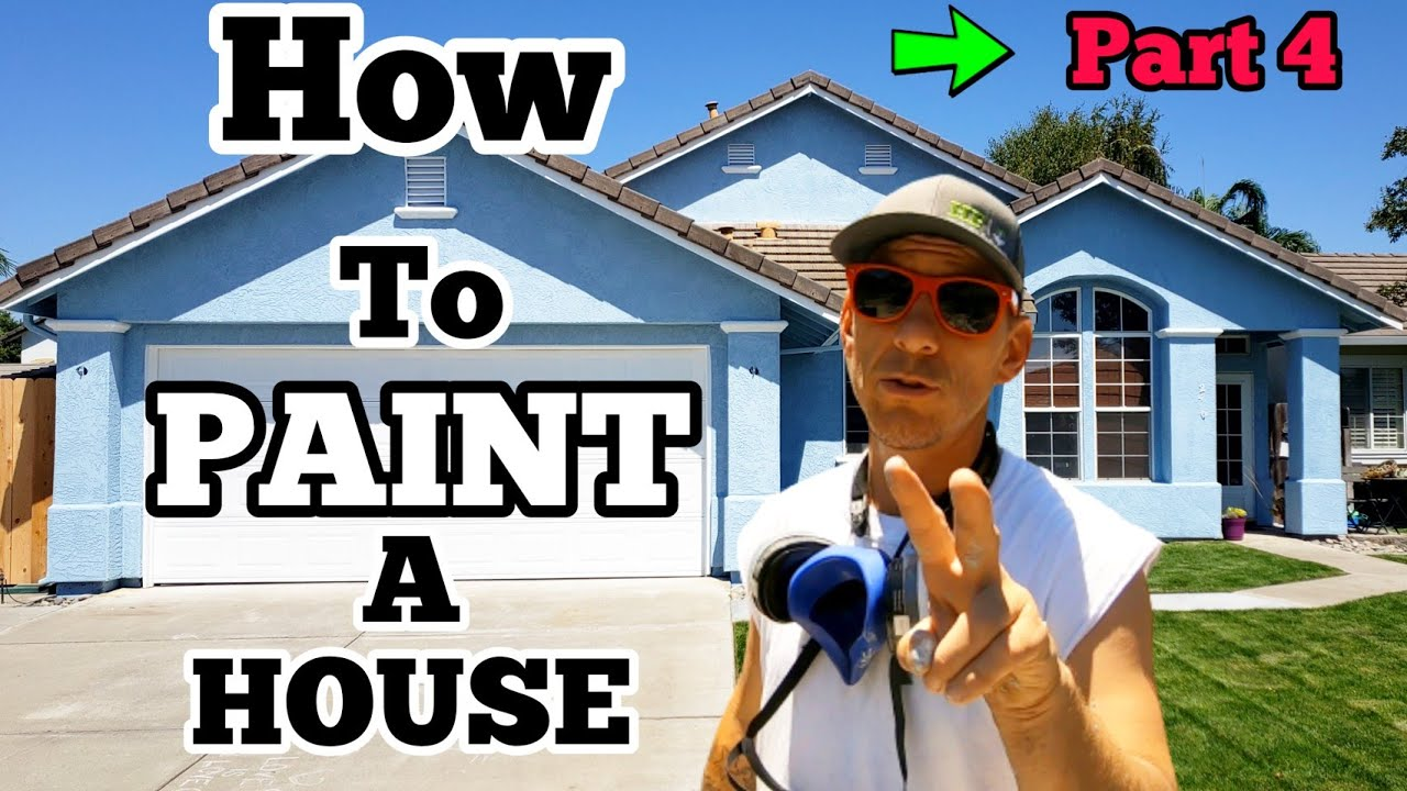 How To PAINT a House Part 4, Painting Exterior Garage Door with Airless Paint Sprayer, Self Employed