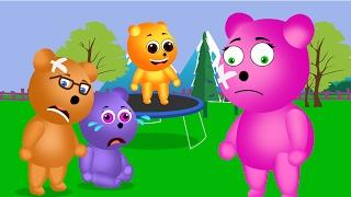Mega Gummy Bear Crying Jumping On The Trampoline   Finger Family Song For Children