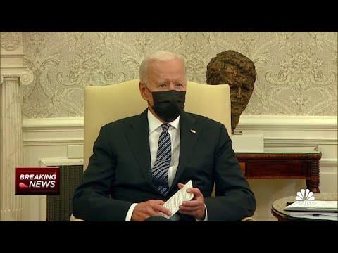 President Joe Biden comments on policing shooting of Daunte Wright, J&J vaccine