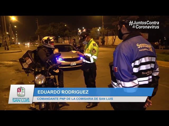 SERENAZGO Y POLICÍA NACIONAL INTENSIFICAN PATRULLAJE NOCTURNO EN DISTINTOS PUNTOS DE SAN LUIS