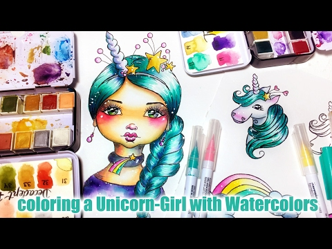 Coloring a Unicorn Girl with Watercolors