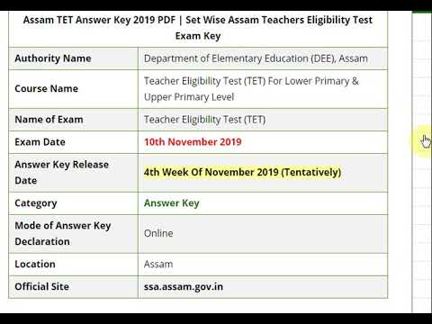 Assam TET Answer Key 2019 PDF