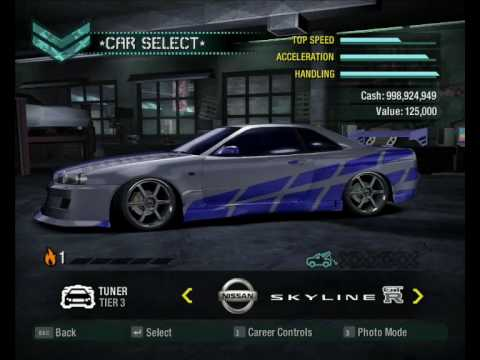 Need For Speed Carbon Fast And Furious 2 Nissan Skyline