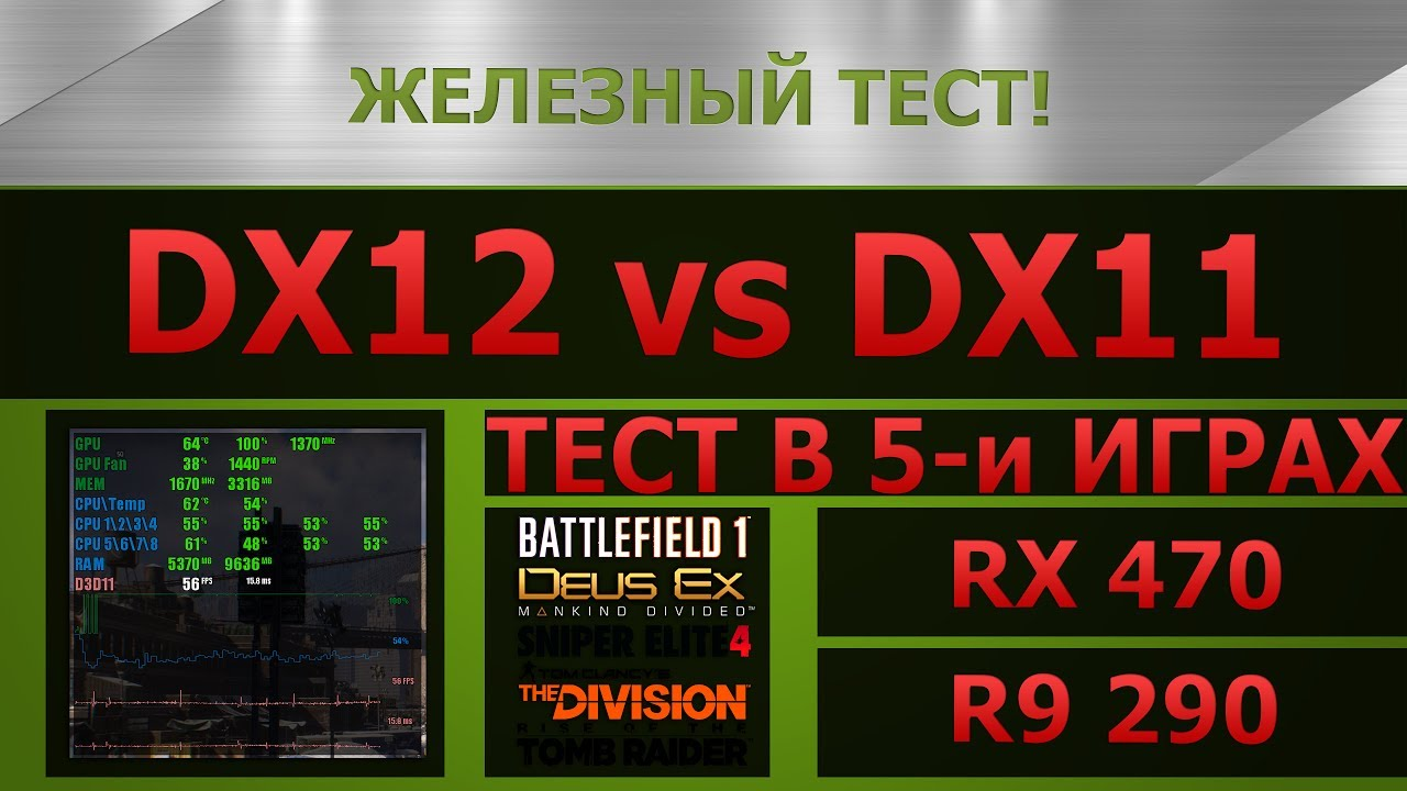 DirectX 11 vs DirectX 12 - performance comparison  (R9,290 and RX 470)
