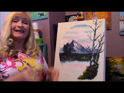Beautiful Oval Landscape Bob Ross Style acrylic painting tutorial Part 3 Big Birch tree's,,