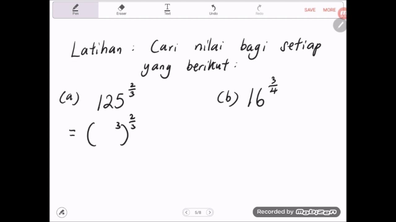 Bab 1 Matematik Tingkatan 3 2019 1 2e Hukum Indeks Indeks Pecahan Youtube