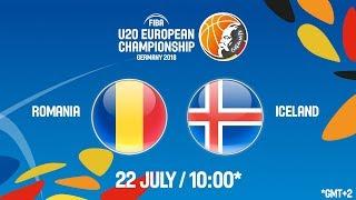 LIVE 🔴 - Romania v Iceland - Class. Game 15-16 - FIBA U20 European Championship 2018