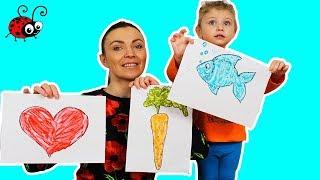 Smantana + Colorant Alimentar  Vopsele pentru degetele   Invatam Culorile  Video Educativ
