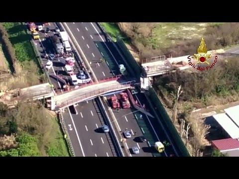 Bridge collapses onto motorway in Italy killing two