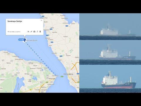 Ship (Severnaya Zemlya) coming into view over the horizon
