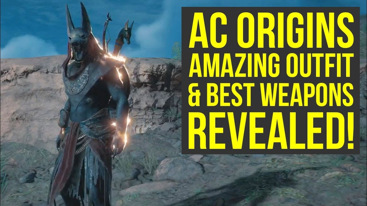 Assassinu0026#39;s Creed Origins MOST AMAZING OUTFIT U0026 BEST WEAPONS REVEALED! (AC Origins Outfits) - YouTube