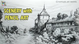 How to Draw A Lovely Scenery with Pencil | Very Easy Pencil Strokes | Step by Step