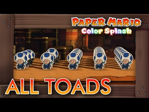 Paper Mario Color Splash - All Rescue Toad Locations (Red, Blue, Yellow, Purple & Green Squad)