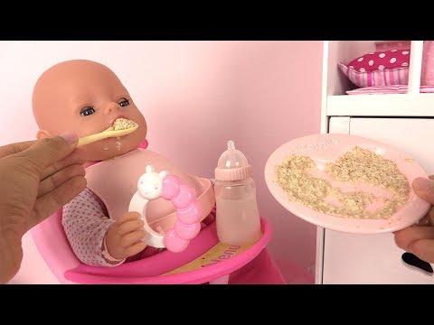 Routine du Matin Poupon Baby Born Morning Routine Bébé Mange sa purée