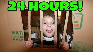 24 Hours in Box Fort Jail Challenge! 24 Hour Challenge with No LOL Dolls